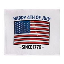 Happy 4th Of July Throw Blanket