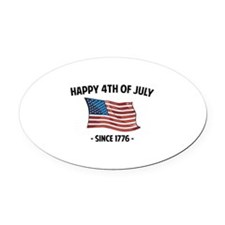 Happy 4th Of July Oval Car Magnet