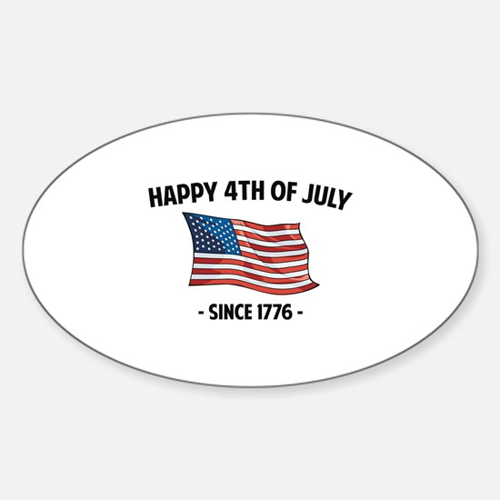 Happy 4th Of July Sticker (Oval)