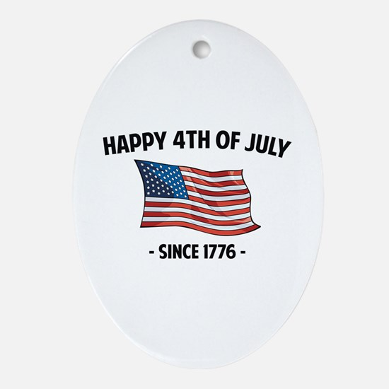 Happy 4th Of July Ornament (Oval)