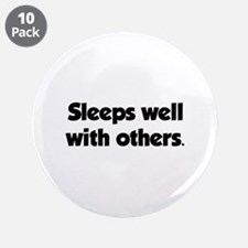 "Sleeps well with others 3.5"" Button (10 pack)"