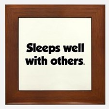 Sleeps well with others Framed Tile