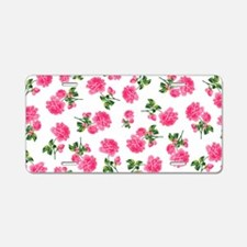 Hot Pink Rose Floral Pattern on White Aluminum Lic