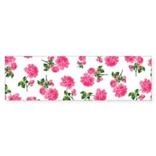 Hot Pink Rose Floral Pattern on White Bumper Sticker