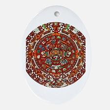 Aztec Calendar Oval Ornament