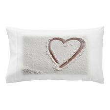 Heart of Sand Beach Wedding Pillow Case