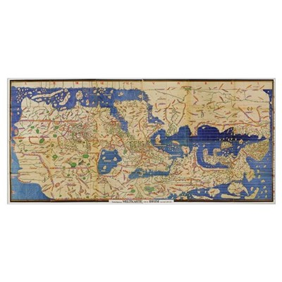 Al-Idrisi's world map, 1154 Canvas Art