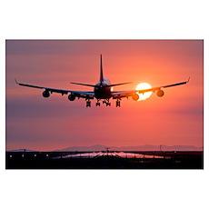 Aeroplane landing at sunset, Canada Poster