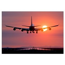 Aeroplane landing at sunset, Canada
