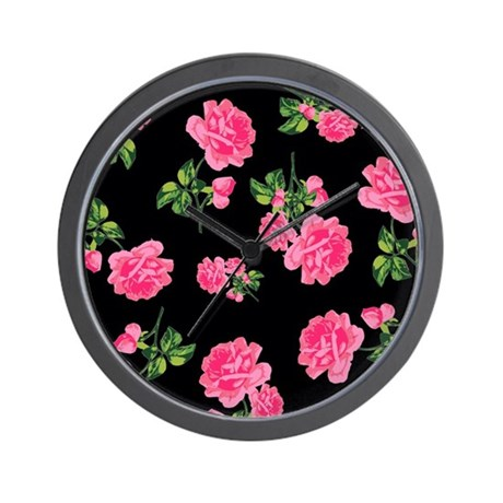 Elegant Pink Roses on Black Wall Clock
