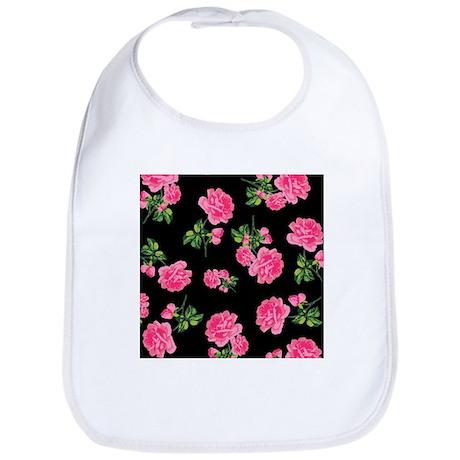 Elegant Pink Roses on Black Bib