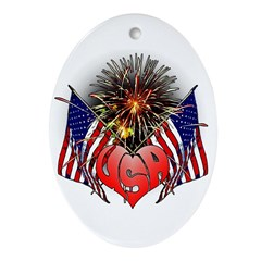 Celebrate America 3 Ornament (Oval)