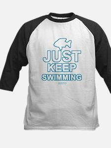Just Keep Swimming Kids Baseball Jersey