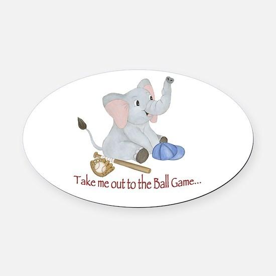 Baseball - Elephant Oval Car Magnet