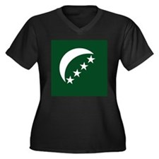 Comoros Roundel Women's Plus Size V-Neck Dark T-Sh
