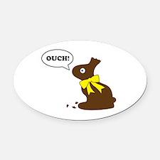 Bunny Ouch Oval Car Magnet