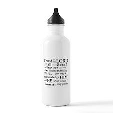 Proverbs 3:5-6 KJV Dark Gray Print Sports Water Bottle
