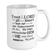 Proverbs 3:5-6 KJV Dark Gray Print Mug