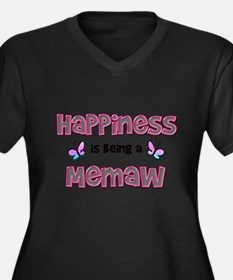 Happiness being Women's Plus Size V-Neck Dark T-Shirt