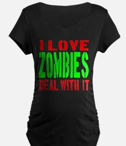 I Love Zombies Deal With It T-Shirt