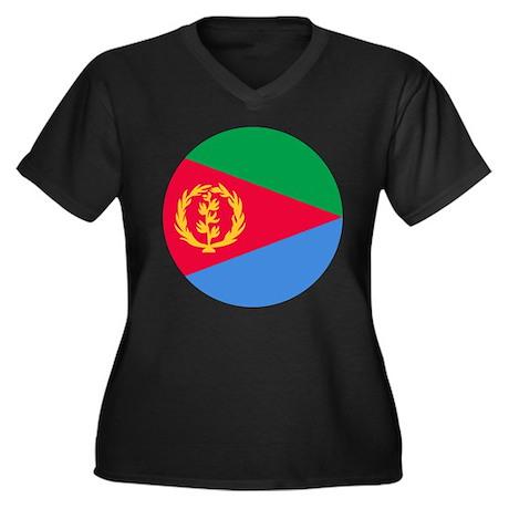 Eritrea Roundel Women's Plus Size V-Neck Dark T-Sh