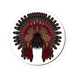Native War Bonnet 06 Round Coaster