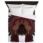 Native War Bonnet 06 Queen Duvet