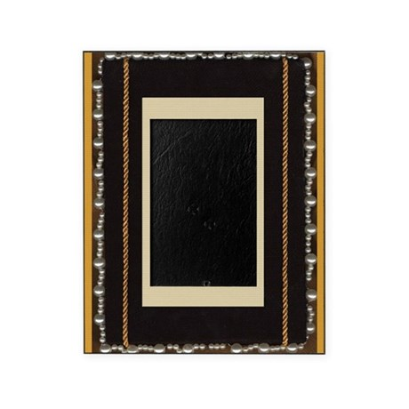 Black silk fabric photo frame with gold rope and p by Rope photo frame