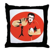 rugby player fending ball retro Throw Pillow