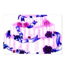 pink wedding cake with ribbons and roses Postcards