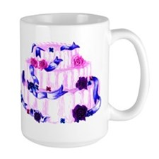 pink wedding cake with ribbons and roses Mug