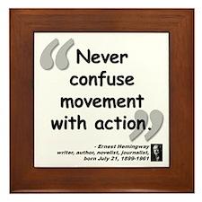 Hemingway Action Quote Framed Tile