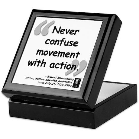 Hemingway Action Quote Keepsake Box