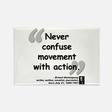 Hemingway Action Quote Rectangle Magnet