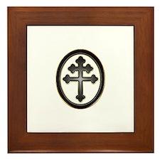 Cross of Lorraine neon -plastic2.psd Framed Tile