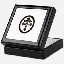 Cross of Lorraine neon -plastic2.psd Keepsake Box