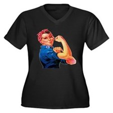 Rosie the Riveter Women's Plus Size V-Neck Dark T-