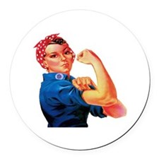 Rosie the Riveter Round Car Magnet