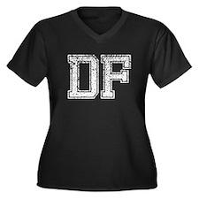 DF, Vintage Women's Plus Size V-Neck Dark T-Shirt