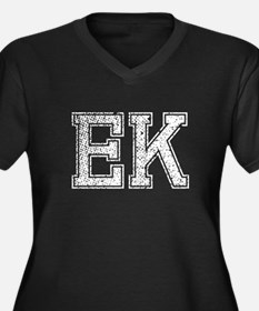 EK, Vintage Women's Plus Size V-Neck Dark T-Shirt