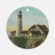 Portland Head Light Ornament (Round)