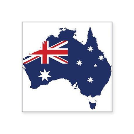 "Flag Map of Australia Square Sticker 3"" x 3"""