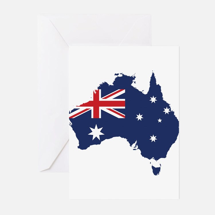 Flag Map of Australia Greeting Cards (Pk of 20)