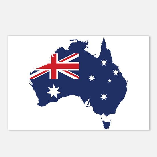 Flag Map of Australia Postcards (Package of 8)