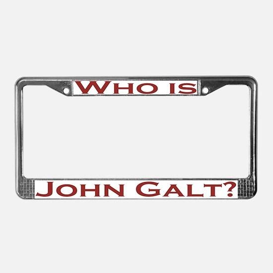 Who is John Galt License Plate Frame Dk Red