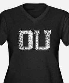 OU, Vintage Women's Plus Size V-Neck Dark T-Shirt