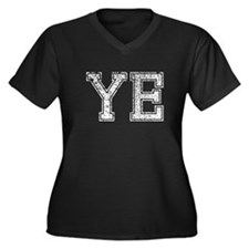 YE, Vintage Women's Plus Size V-Neck Dark T-Shirt