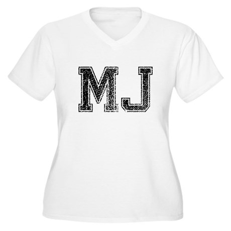 MJ, Vintage Women's Plus Size V-Neck T-Shirt