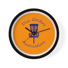 Orange Disc golf Disc Wall Clock