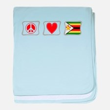 Peace Love and Zimbabwe baby blanket